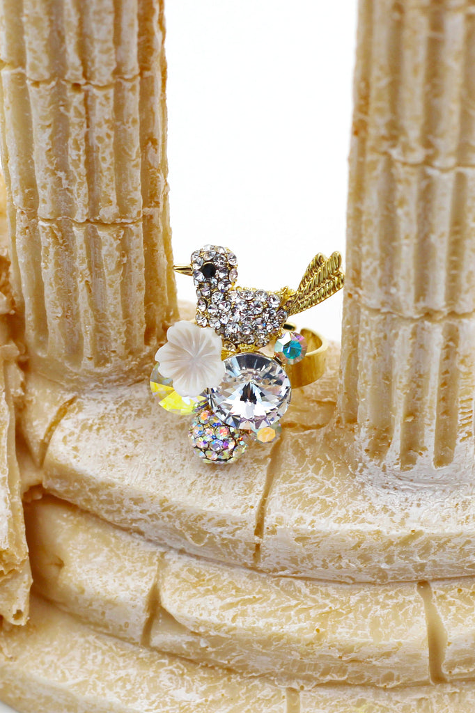 White Crystal Birds Gold Ring