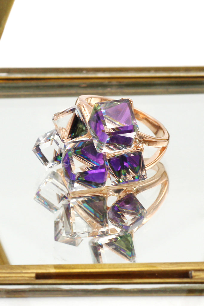 square candy crystal rose gold ring