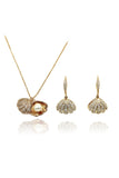 shiny shell pearl gold necklace earrings set