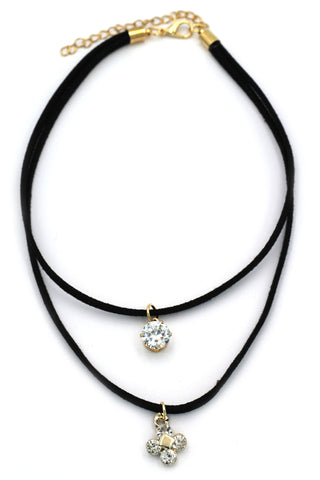 fashion double-chain square crystal pendant choker