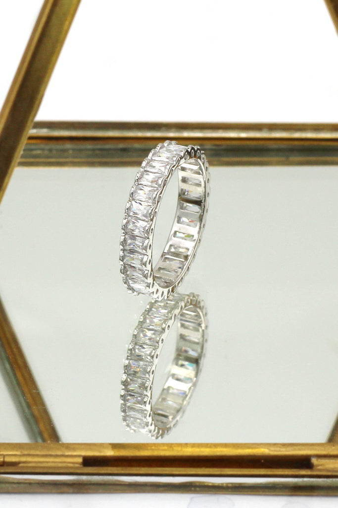 silver lined crystal earrings ring set