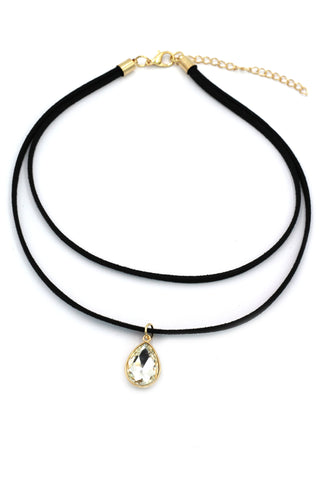 fashion double-chain circle crystal key choker