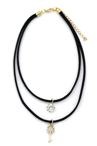 fashion three-chain crystal pendant heart black choker