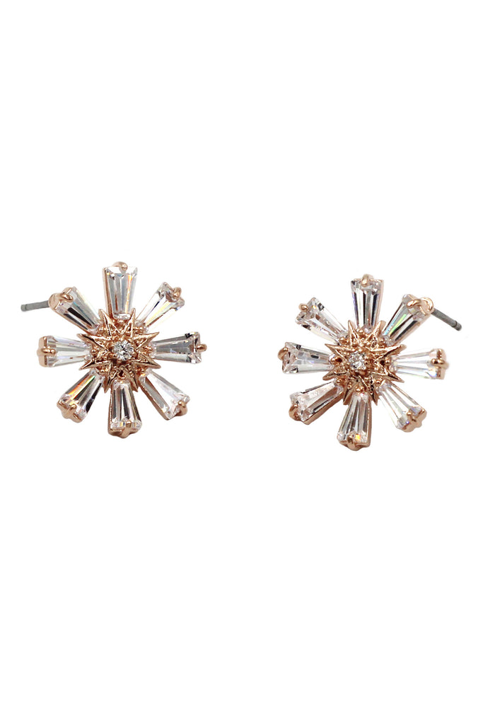shining crystal flower earrings
