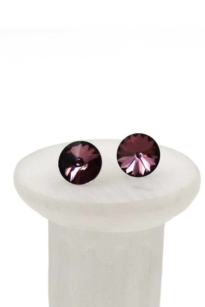 simple round crystal earrings