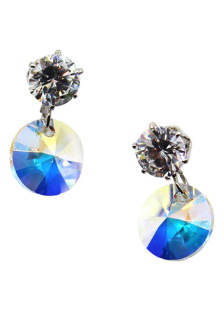 pendant silver bow crystal earrings