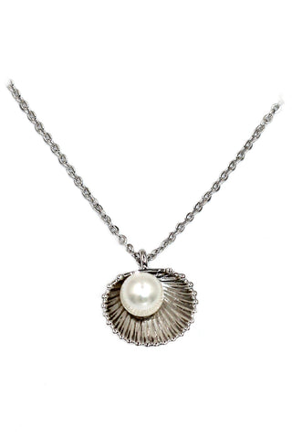 fashion pearl and crystal key necklace