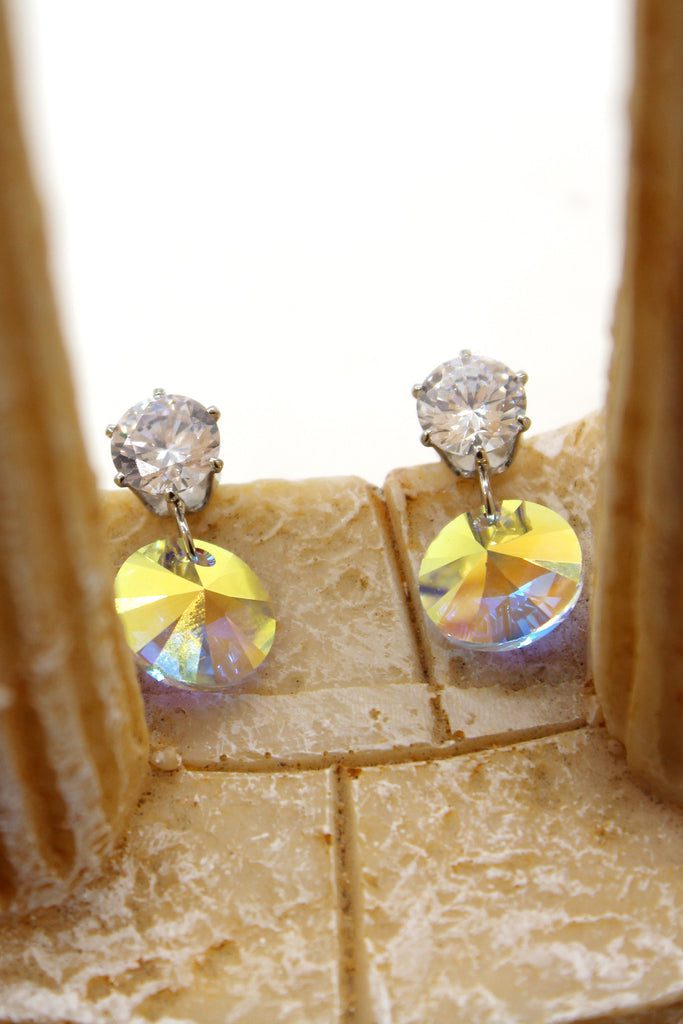 fashion swarovski circle crystal silver earrings