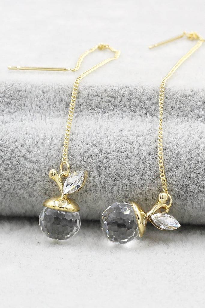 delicate small apple crystal earrings
