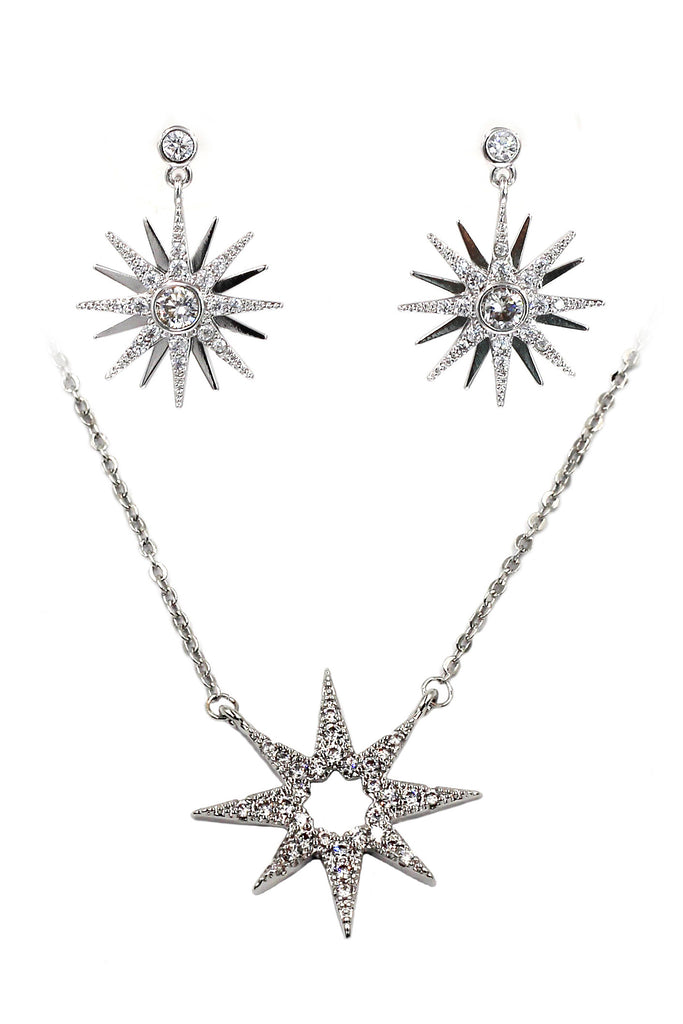 mini anise start crystal silver necklace earrings set