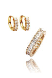 fashion lined crystal earrings ring set