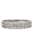 fashion silver mosaic both sides crystal ring