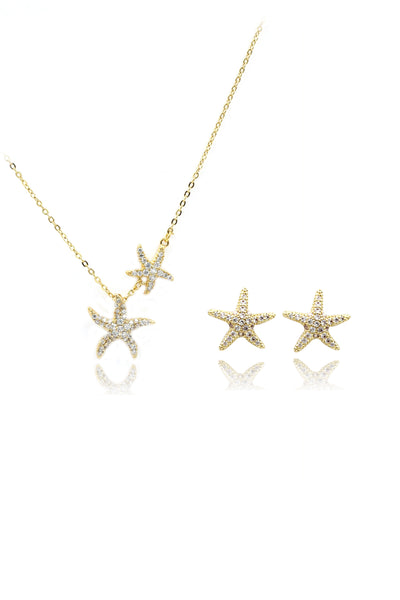 fashion crystal star earrings necklace set