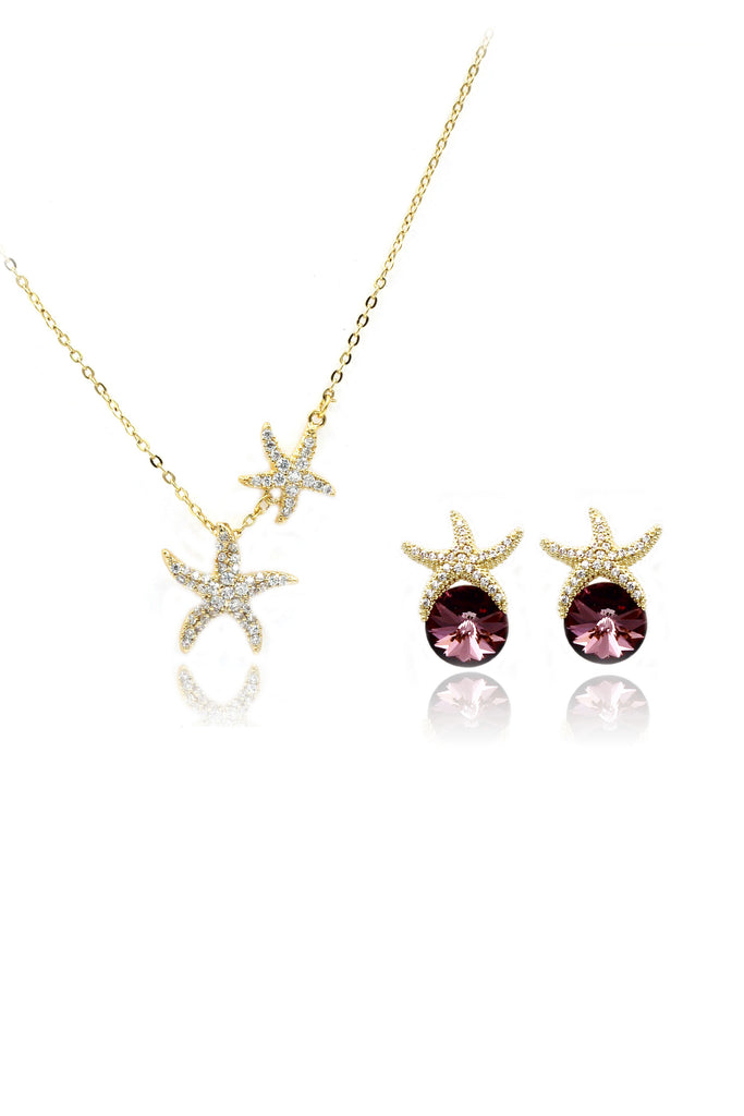 hot sale crystal star earrings necklace set