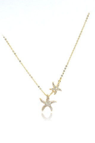 silver double swan crystal necklace