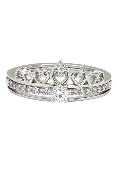 noble small crystal crown double ring