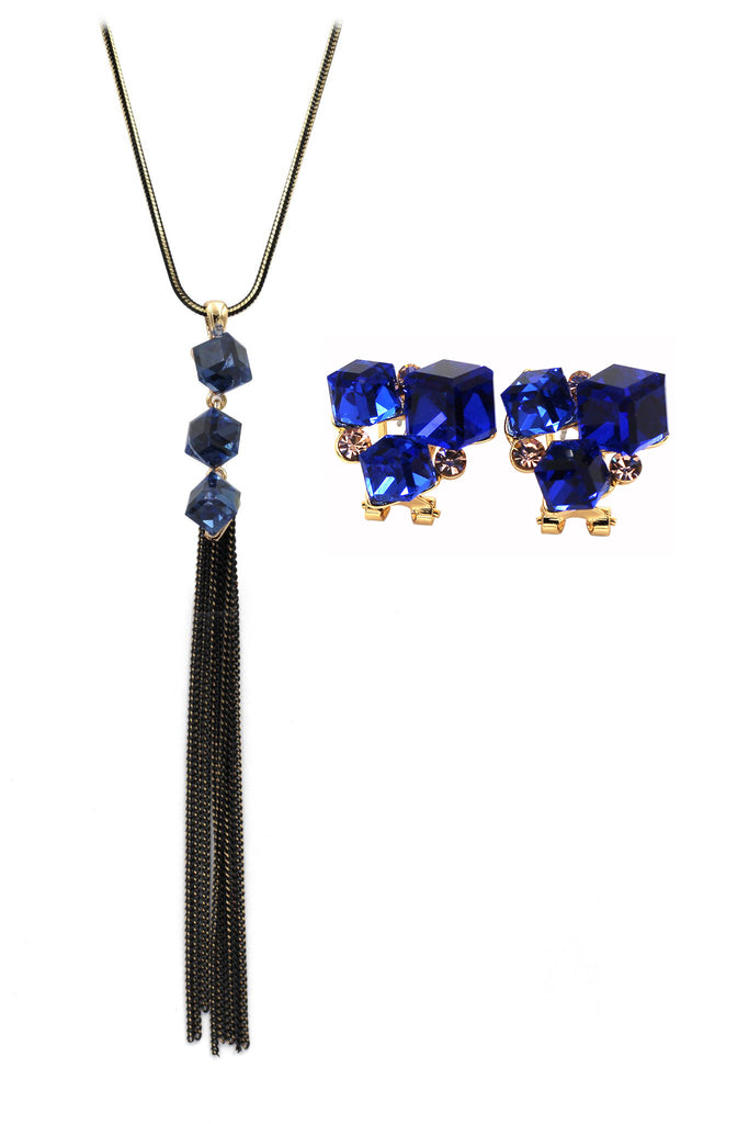 blue square crystal earrings necklace set