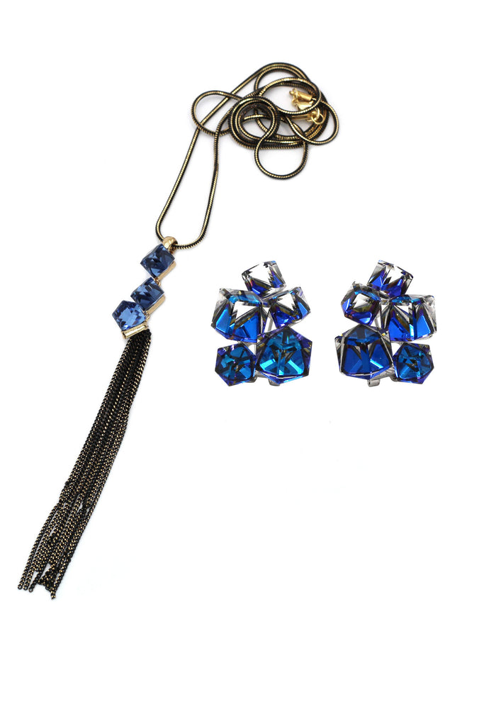 fashion blue crystal square earrings necklace set