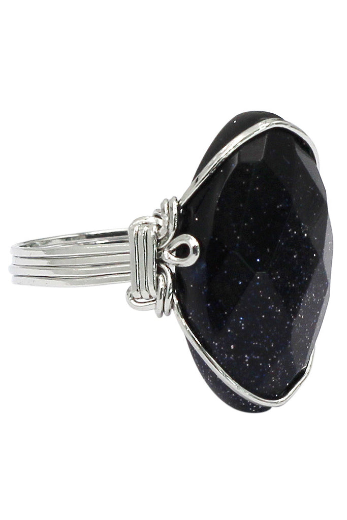 fashion starry sky natural stone silver ring