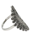 noble micro crystal fan silver ring