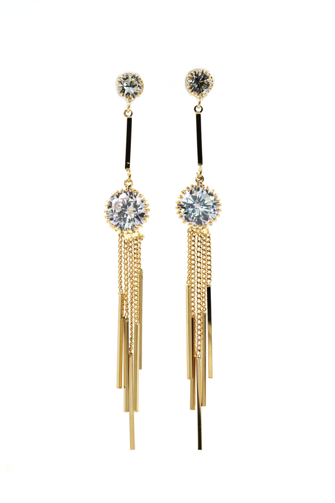 elegant long tassel crystal earrings