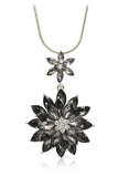 fashion pendant black crystal flowers silver necklace