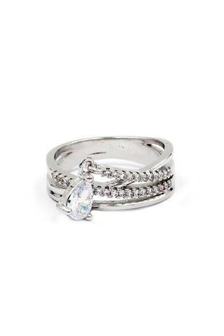 fashion silver elegant crystal ring