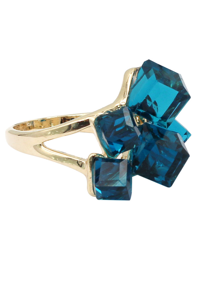 colorful square crystal golden ring