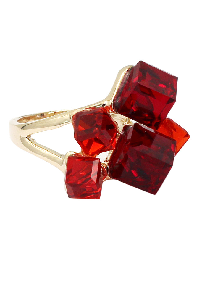 red square ring earrings crystal set