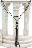 fashion square blue crystal tassel necklace