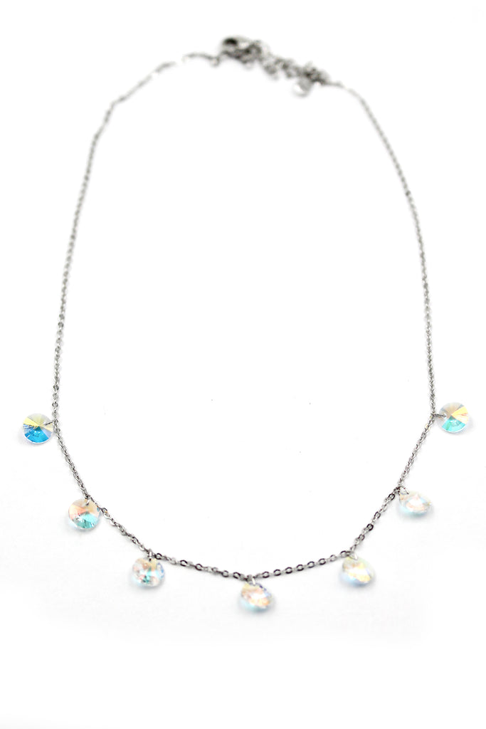 small crystal clavicle necklace