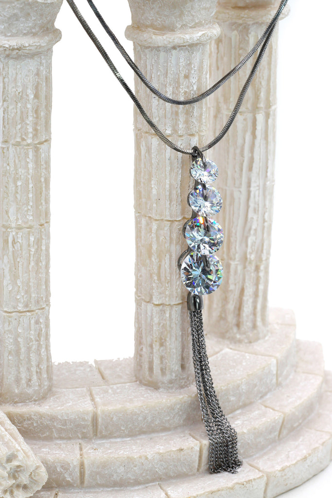 fashion circularity crystal tassel necklace