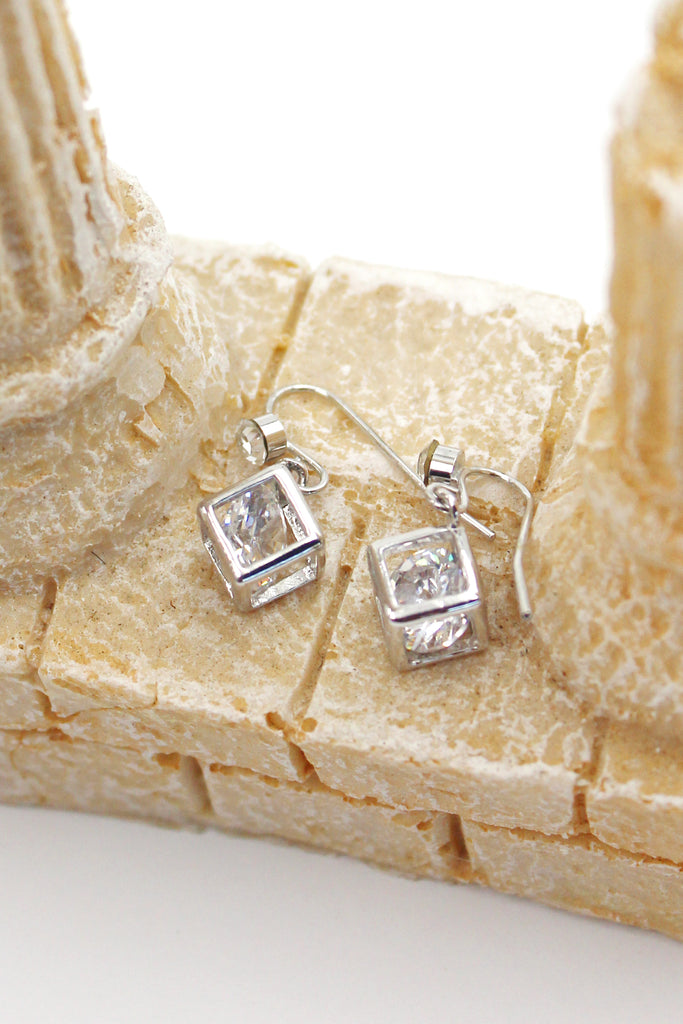 small square material crystal earrings