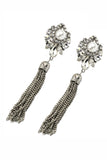 elegant pendant tassel crystal and pearl earrings