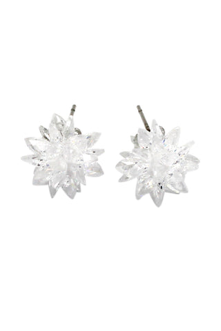 simple shiny crystal silver earrings