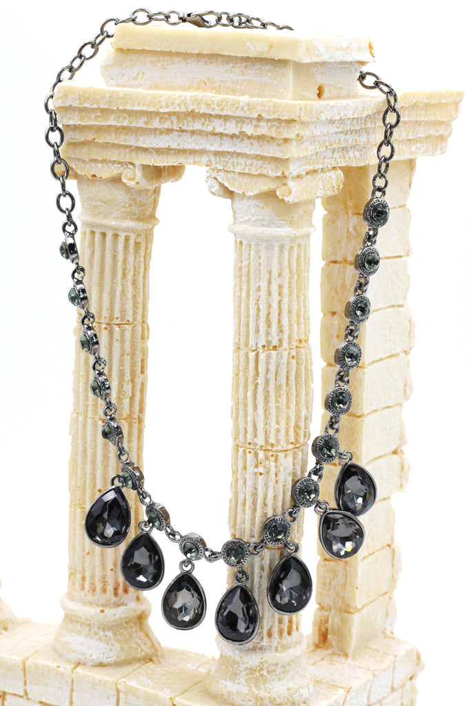 fashion silver black crystal necklace