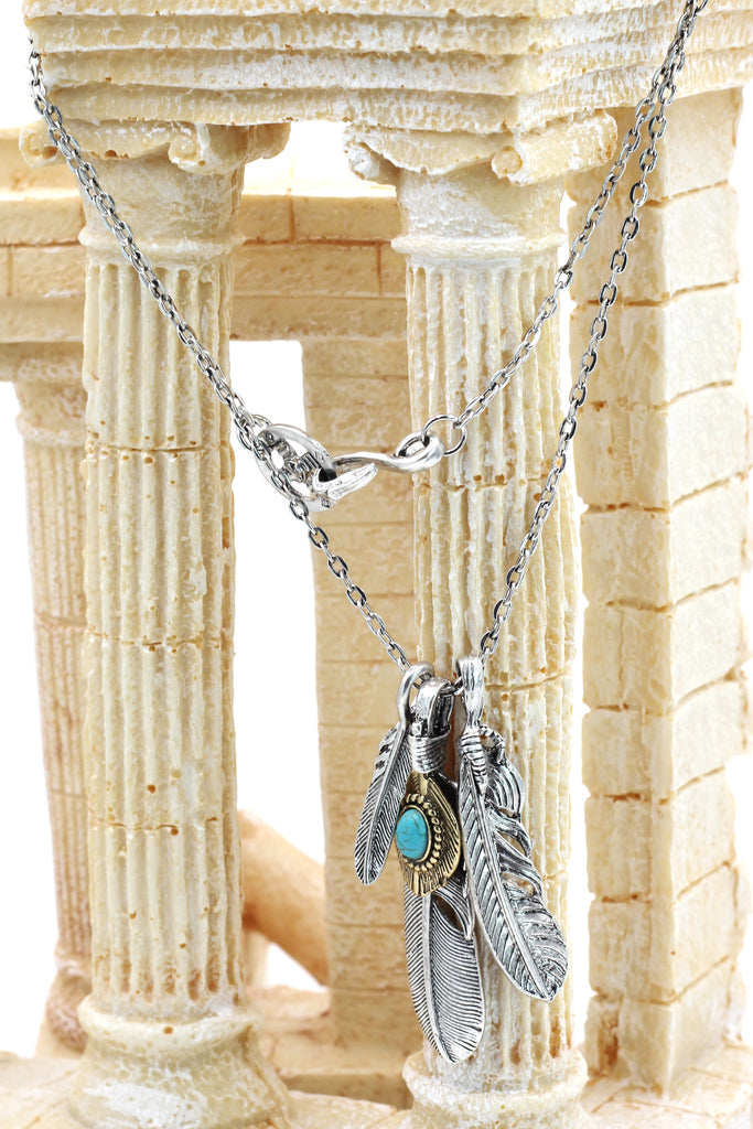 fashion feather silver necklace