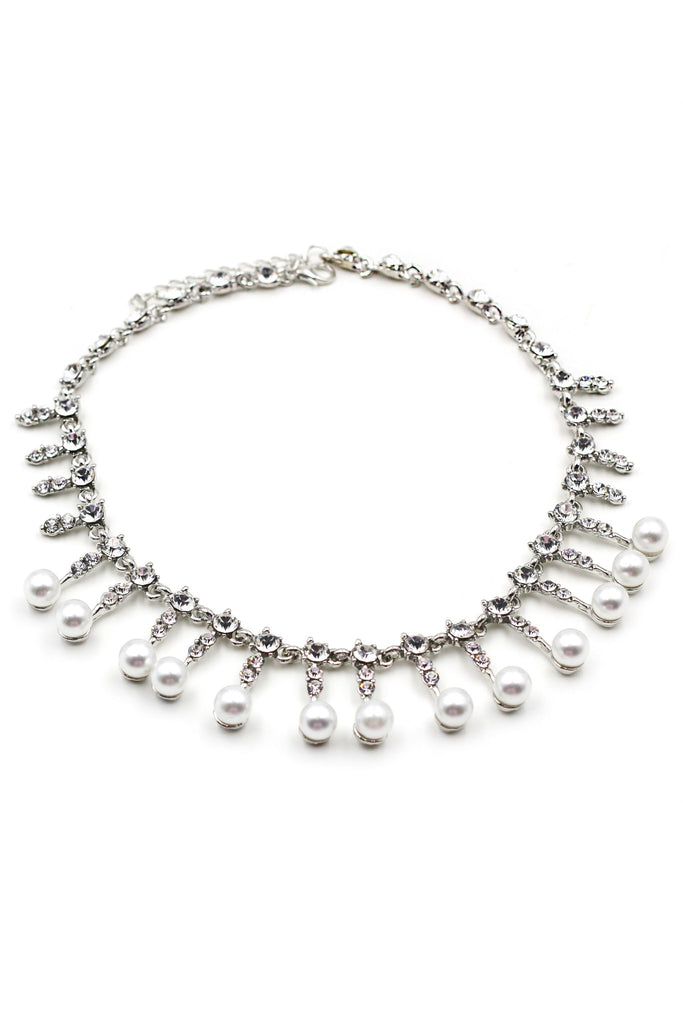silver pearl little crystal necklace