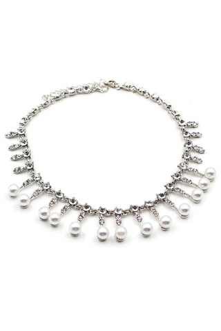 Crystal silver charm necklace