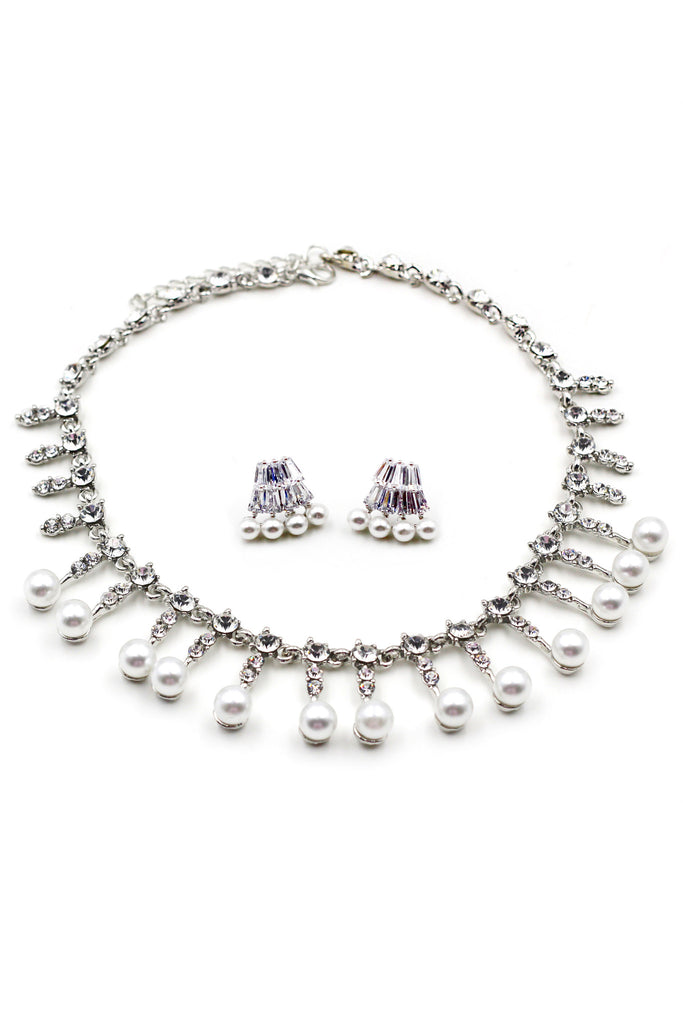 silver pearl little crystal necklace earrings set