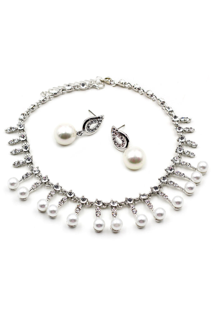 Small pearl crystal necklace earring set