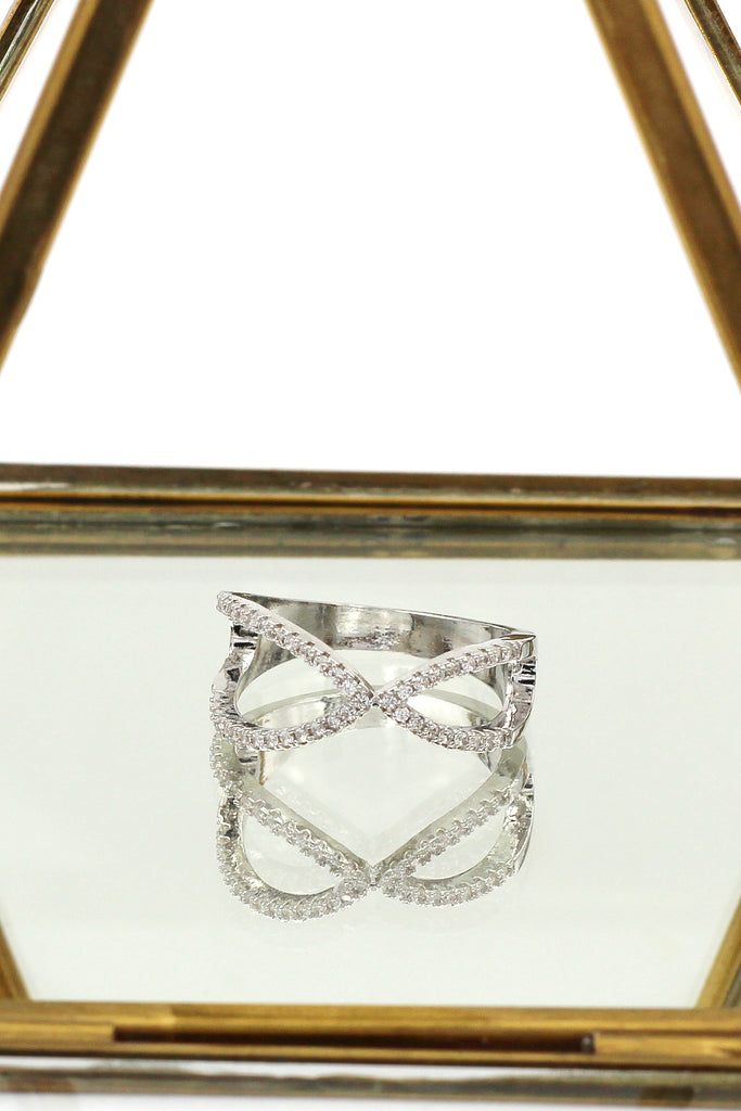 fashion cross crystal ring