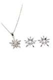 fashion crystal star claws silver necklace earrings set