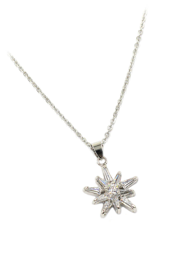 fashion crystal star claws silver necklace