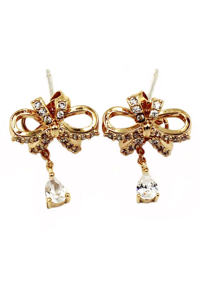 lovely ribbon pendant crystal earrings
