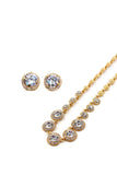 noble simple golden crystal earring necklace set