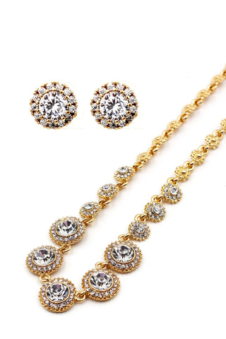 Elegant pink crystal flower necklace earrings set