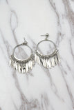 large silver fringe earrings