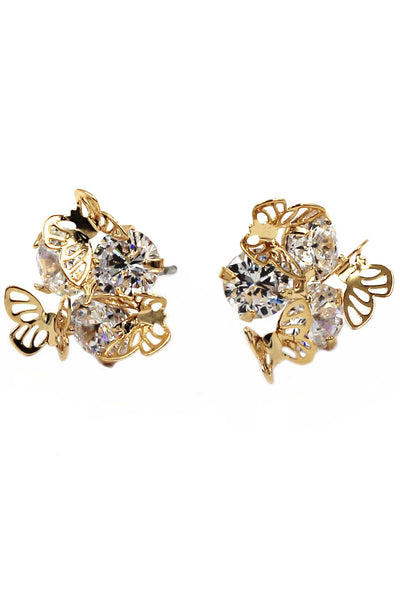 lovely mini butterfly crystal earrings