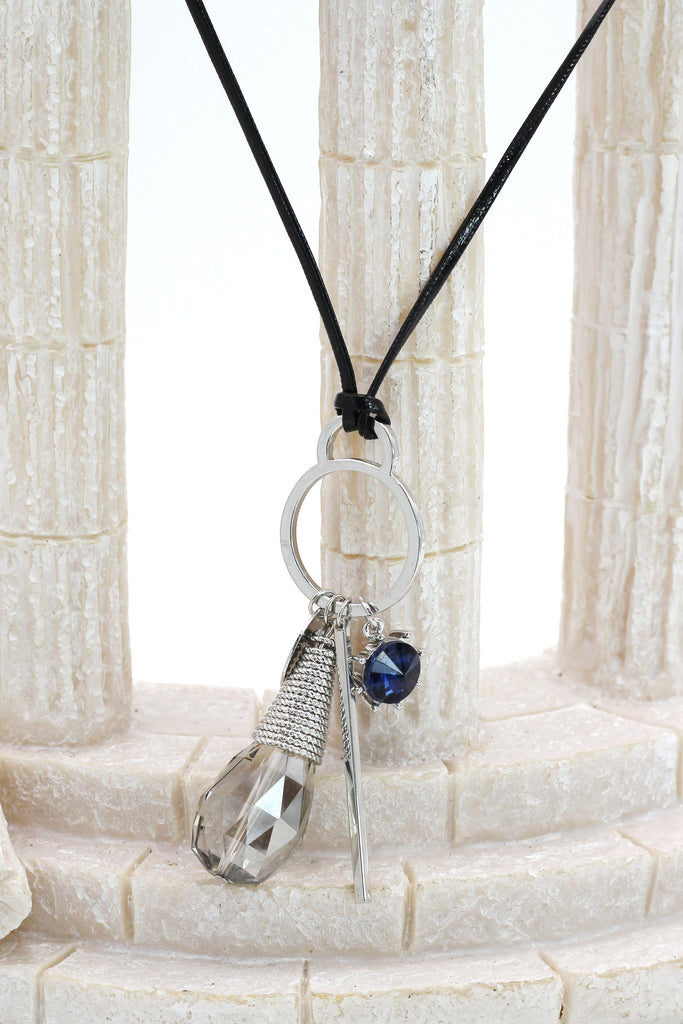 fashion gray crystal leather necklace